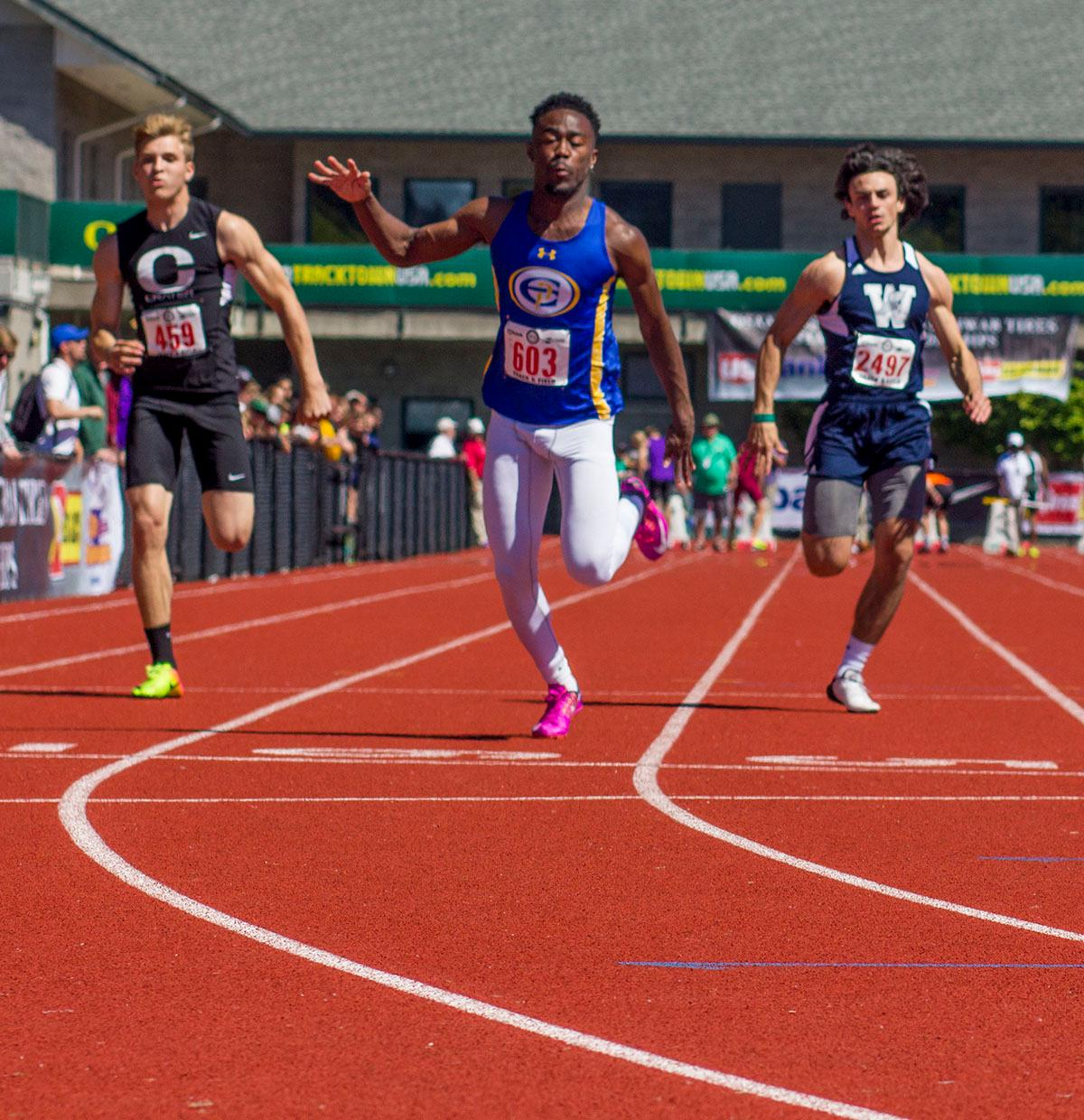 Anthony Gray of Eagle Point High School wins the 5A Boys 100 Meter Dash with a time of 10.78 on Friday in the 2017 OSAA State Track and Field Championsips at Hayward Field. Photo by: Stephanie Cusano, Oregon News Lab