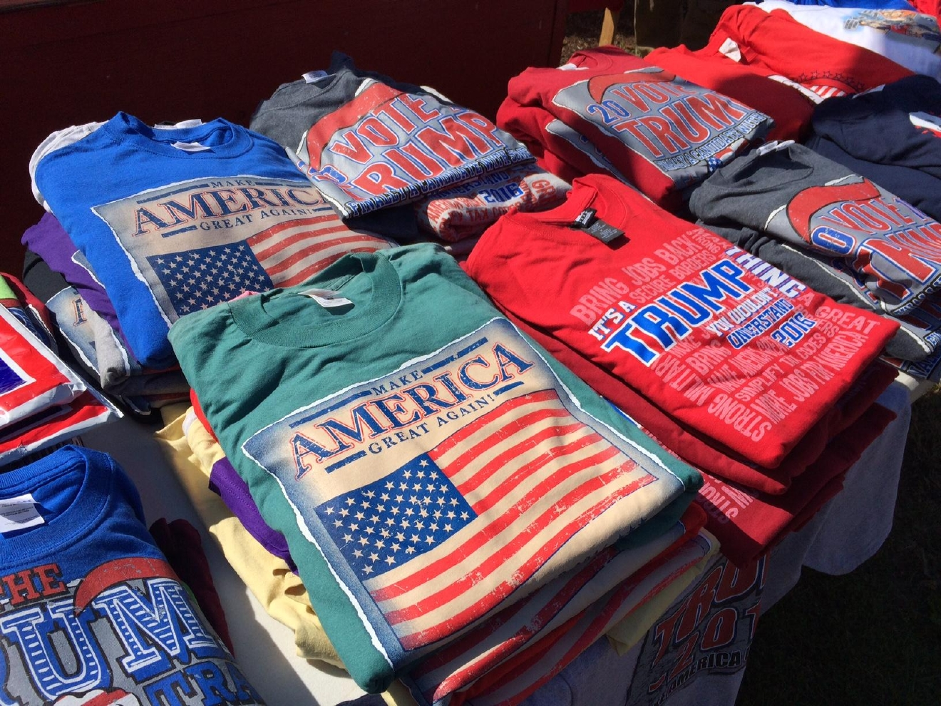 They hawked shirts, hats, buttons and more- all pro-Trump. All of the vendors we spoke with said they weren't just doing it for the money- they were supporting Donald Trump in his candidacy, and hoping they might be able to change the minds of some Lane County residents. (SBG photo)