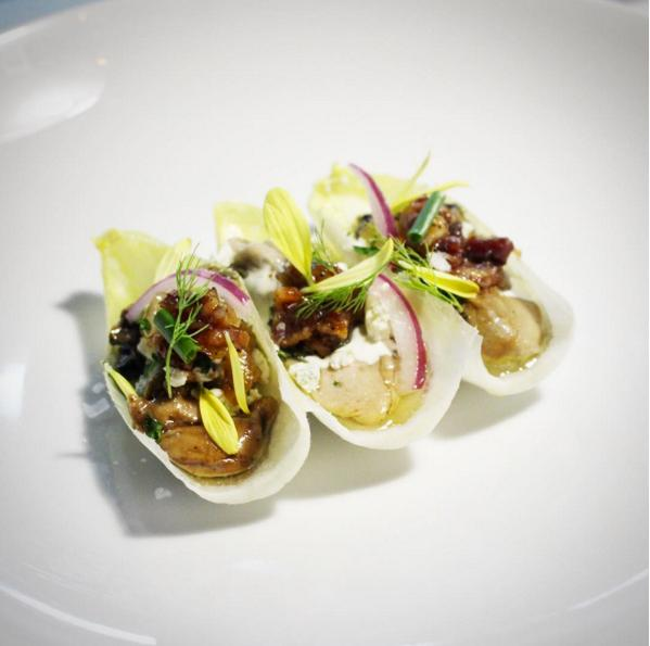 Oyster bacon, sake bacon jam, Apple, jalapeño, smokey bleu cheese. (Image: @maximillianpetty / Instagram)
