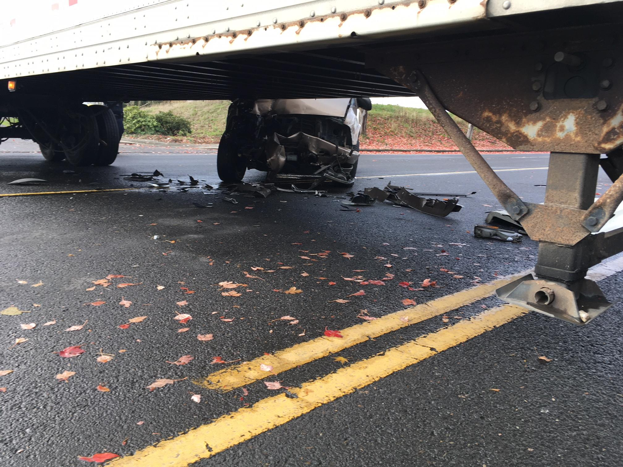 Beaverton police say a driver was seriously injured after a crash involving a semi-truck in Aloha on Nov. 20, 2017. Photo courtesy Beaverton Police Department