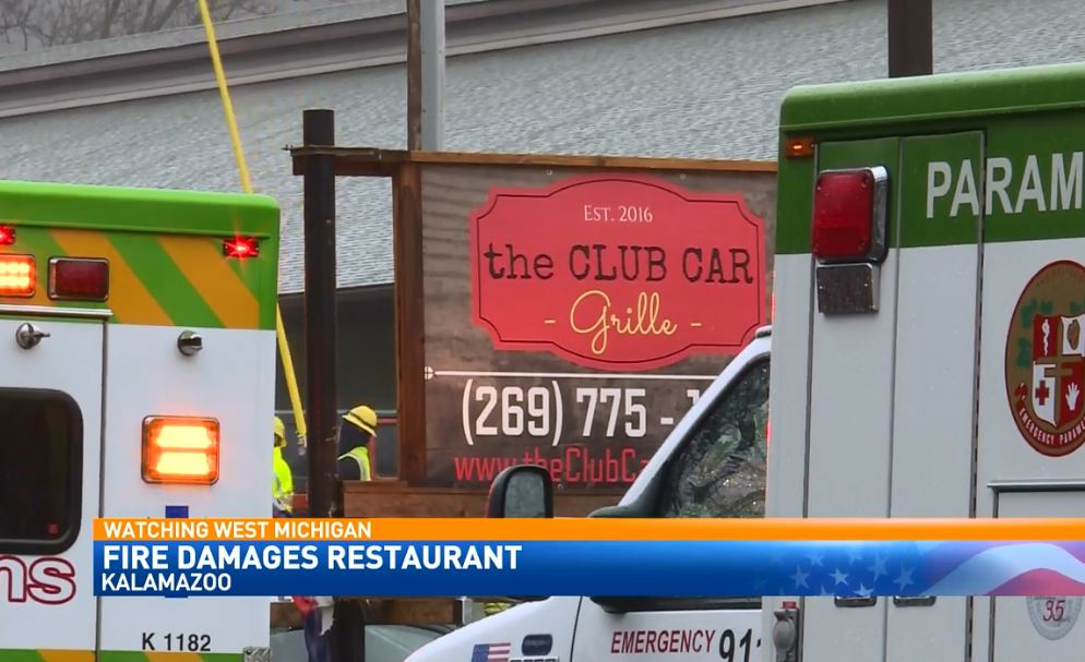 About two dozen firefighters on are the scene of a restaurant fire on D Avenue, the Club Car Grille. (WWMT)