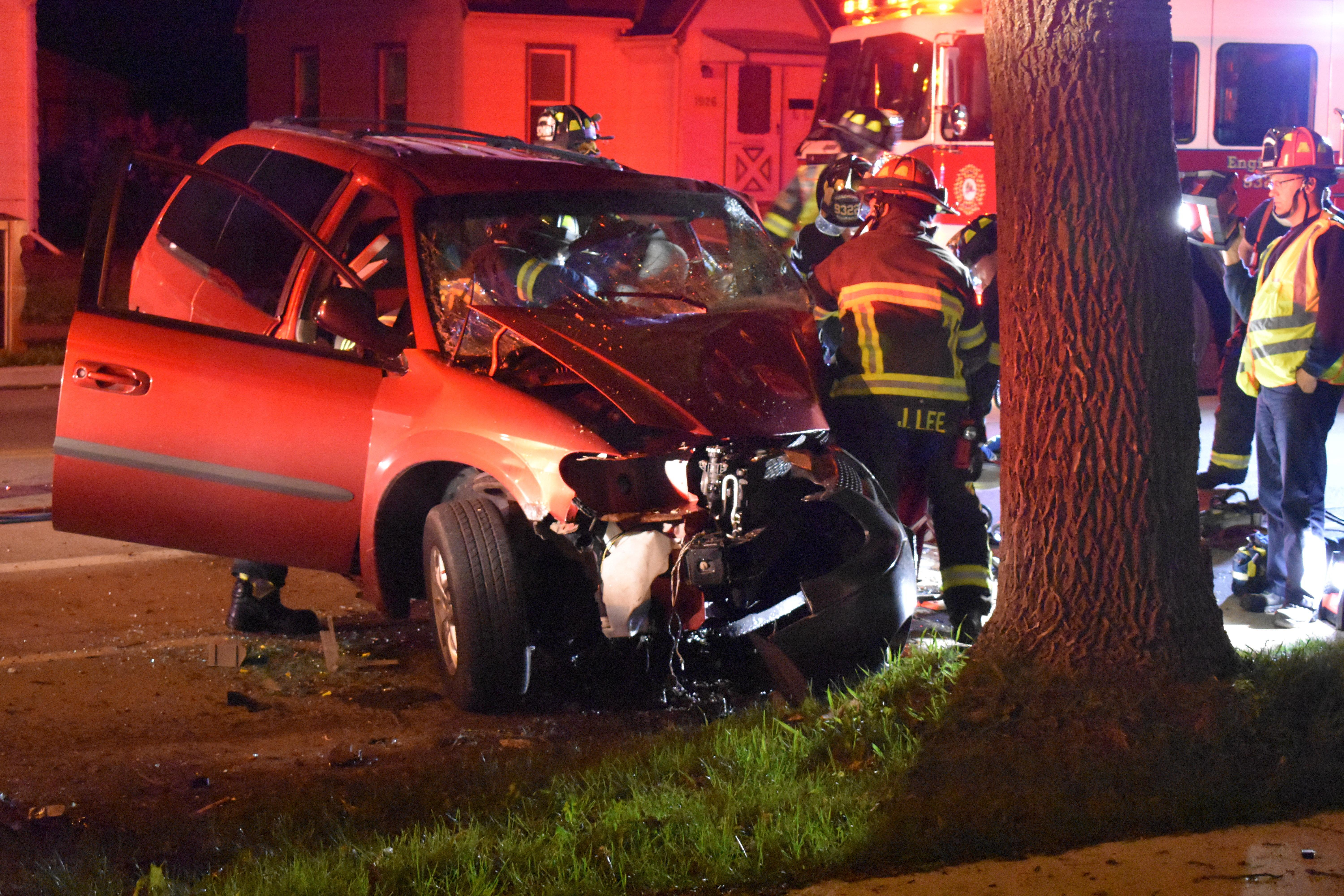 Emergency crews respond to a crash involving a suspected drunken driver on E. Newberry Street in Appleton May 21, 2018. (Photo submitted by Chris Beeman)
