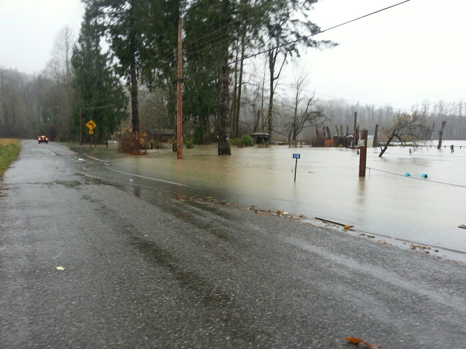 "In the small town of Concrete in Skagit County, many residents woke up to flooded roads from the Skagit River, which has reached ""major"" flood status. (Photo: Skagit County DEM)"