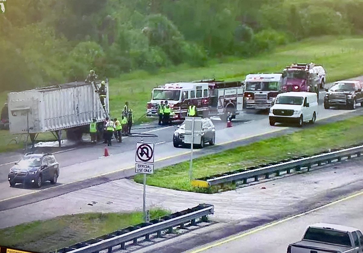 Tractor trailer catches fire on Turnpike in St. Lucie County (St. Lucie Fire District)