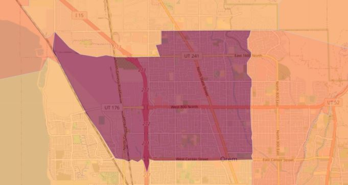 Utah's highest case rate is in this area of Orem. Small area case rates show the crude case rate per 100,000 people per Utah area. Cases may be higher or lower depending on several factors including testing in the area. (Image: UDOH)