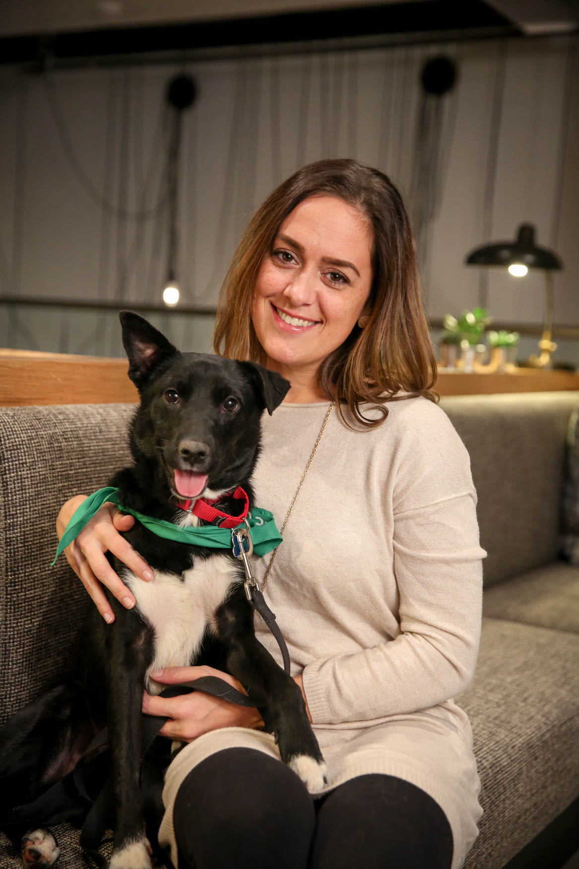 Meet Puddin' and Jacqui, a 1-year-old Lab mix and a 35-year-old human respectively. Photo location: Moxy Washington, D.C. Downtown (Image: Amanda Andrade-Rhoades/ DC Refined)