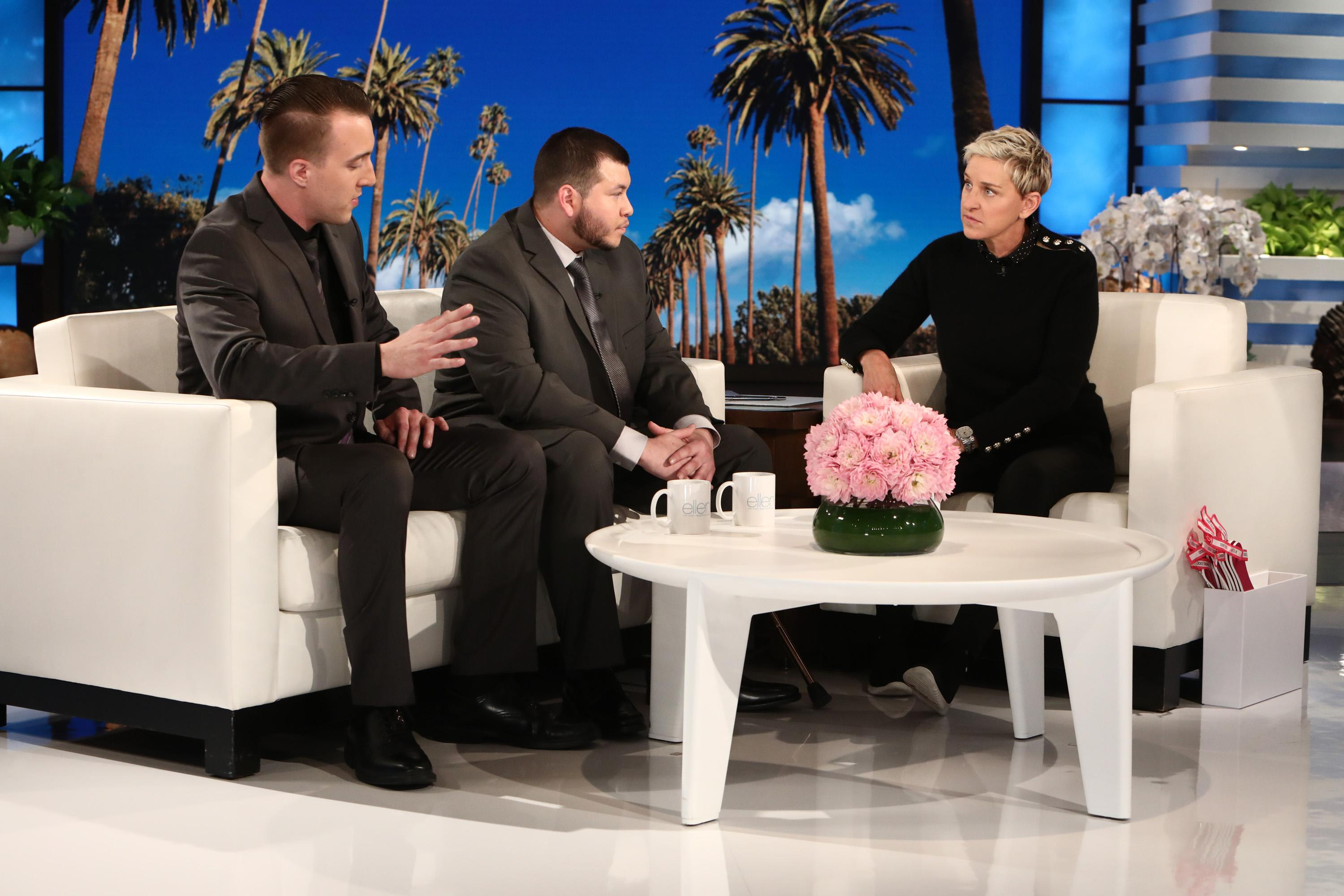 "Jesus, a security officer, and Stephen, a building engineer, were both working at the Mandalay Bay Resort and Casino the evening of the tragic mass shooting and were the first people to encounter the shooterÂ?(Courtesy:Â?""The Ellen DeGeneres Show""Â?andÂ?Michael Rozman/Warner Bros.)"