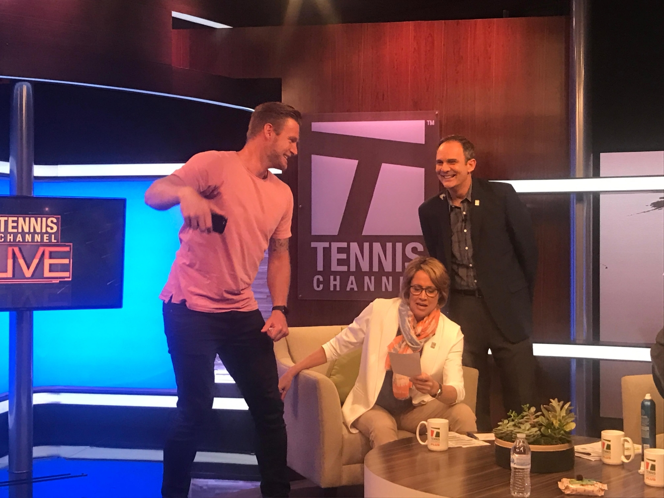 Sam Groth snaps a selfie with Mary Carillo and Paul Annacone