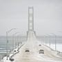 High wind warning at the Mackinac Bridge