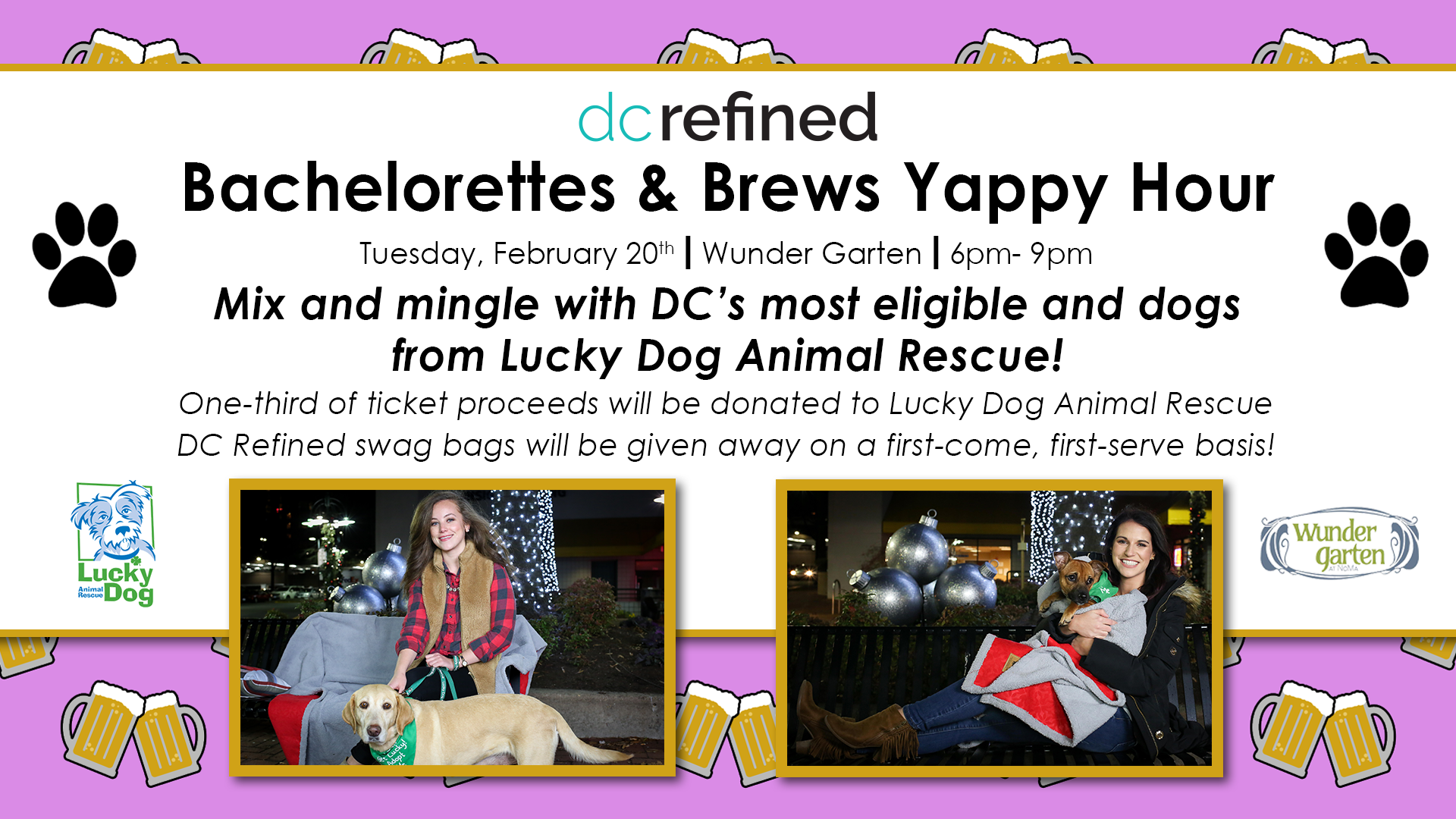 Mix and mingle with DC Refined's Most Eligible Bachelorettes and some adorable adoptable dogs from Lucky Dog Animal Rescue at Wunder Garten DC. (Image: DC Refined)<p></p>