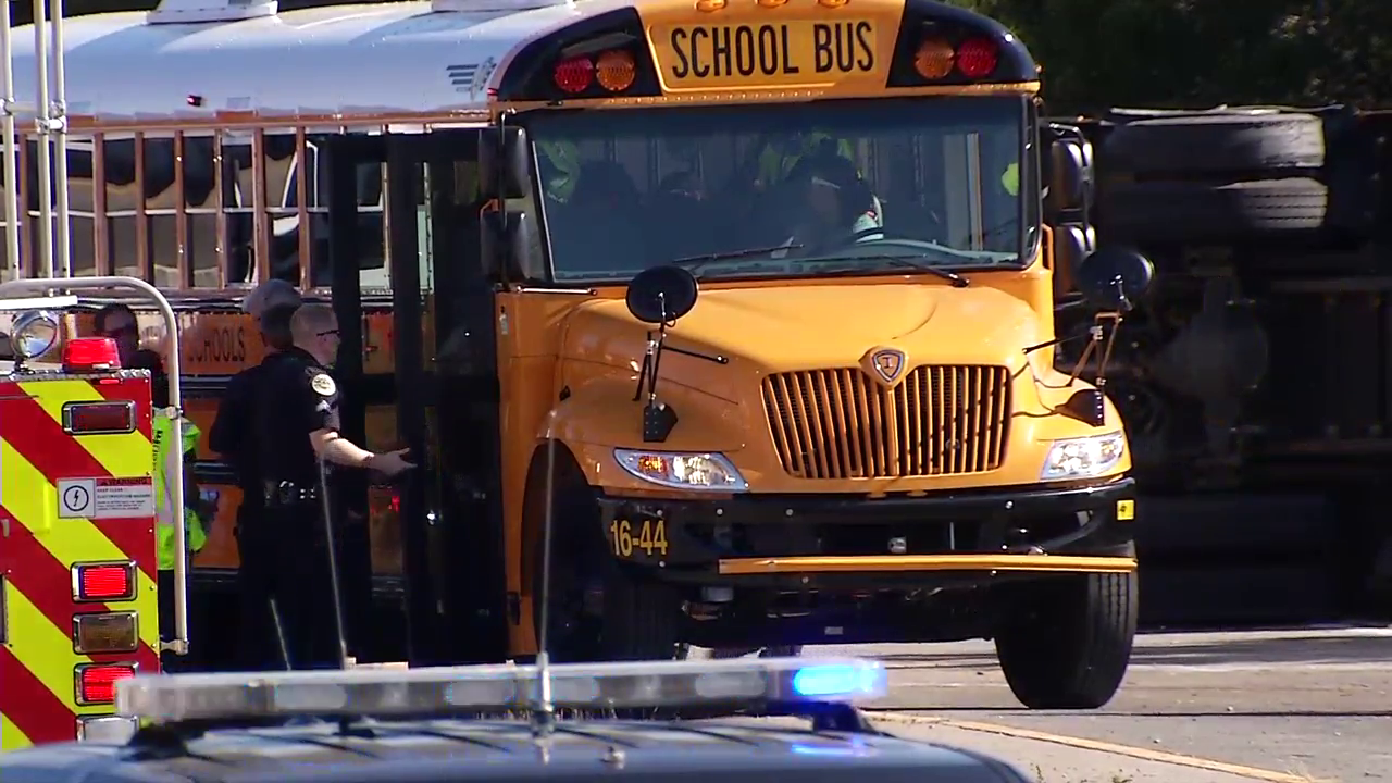 A school bus filled with children from Chester County High School crashed on I-65 at Briley Parkway on Friday.  (WZTV)