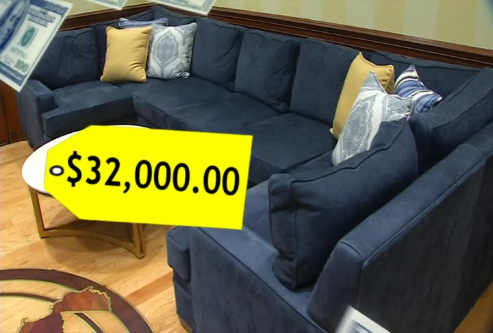 A sectional sofa in Chief Justice Allen Loughry's chambers cost West Virginia taxpayers nearly $32,000. (WCHS/WVAH)<p></p>