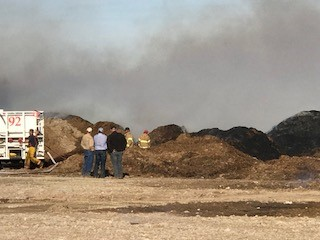Crews are on the scene of a cotton burr pile fire at the Lakeview Gin in Swisher County. (Photo Courtesy: Tulia Volunteer Fire Department)