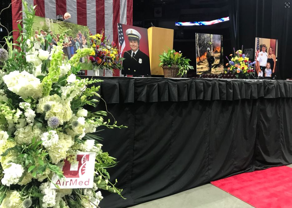 The life of Draper City Fire Department Battalion Chief Matt Burchett is being celebrated with funeral services Monday , 11 a.m., at the Maverik Center in West Valley City. (Photo: Dan Rascon / KUTV)<p></p>