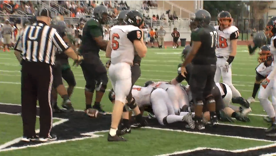 The end of a play in the Tulsa Washington vs Edmond Santa Fe game on Friday, August 25, 2017.  Washington won 35-21.  (KOKH)