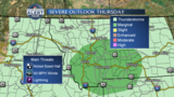 Strong thunderstorms possible Thursday
