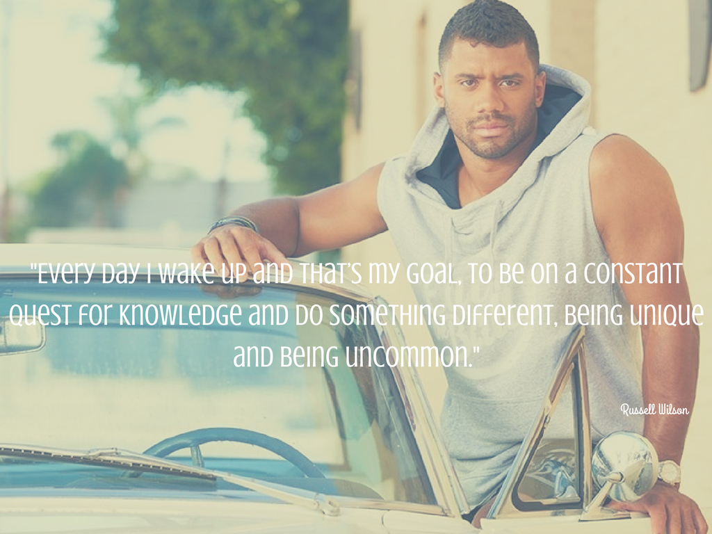 """Every day I wake up and that's my goal, to be on a constant quest for knowledge and do something different, being unique and being uncommon."" - Russell Wilson. (Image courtesy: Eat the Ball / Safeway)."