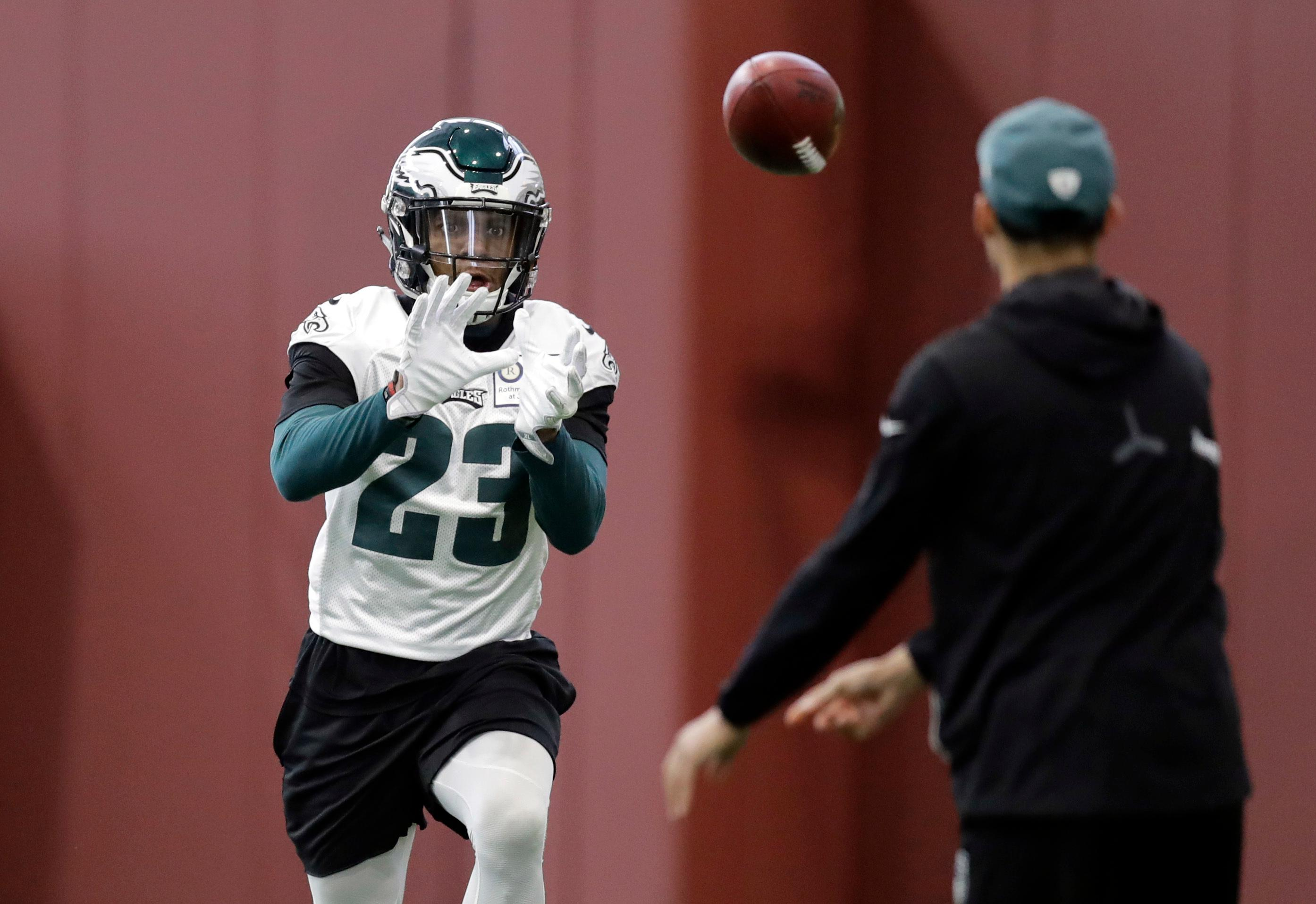 Philadelphia Eagles free safety Rodney McLeod (23) goes through drills during a practice for the NFL Super Bowl 52 football game Friday, Feb. 2, 2018, in Minneapolis. Philadelphia is scheduled to face the New England Patriots Sunday. (AP Photo/Eric Gay)