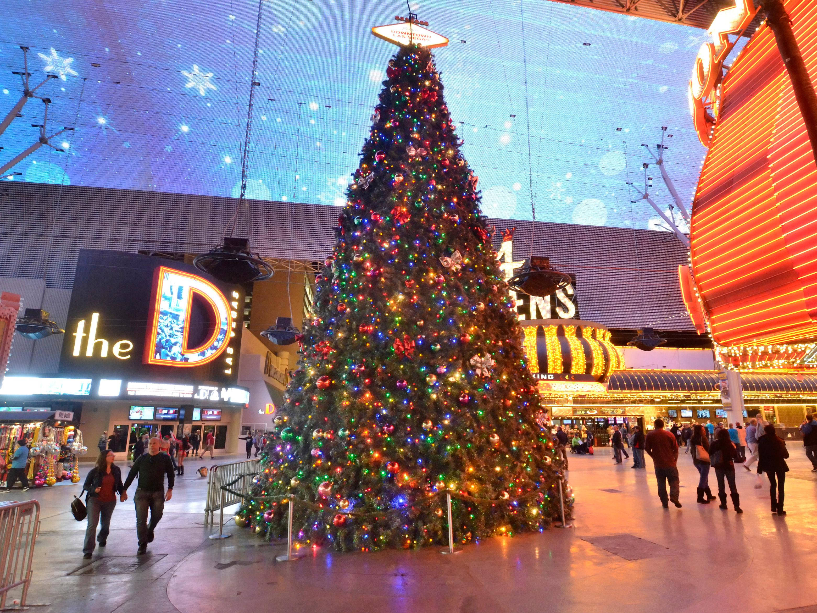 A Christmas tree is shown on Fremont Street in downtown Las Vegas on Tuesday, Dec. 12, 2017. CREDIT: Bill Hughes/Las Vegas News Bureau