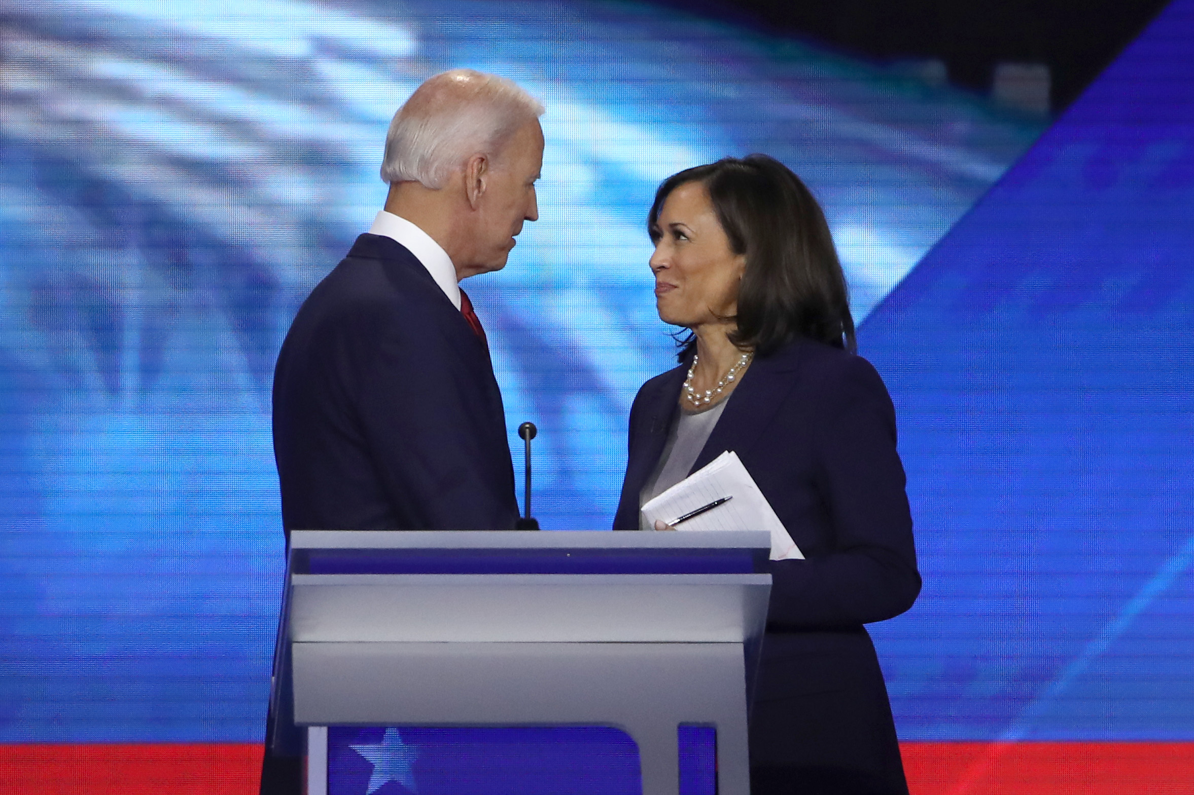 HOUSTON, TEXAS - SEPTEMBER 12: Democratic presidential candidates former Vice President Joe Biden and Sen. Kamala Harris (D-CA) speak after the Democratic Presidential Debate at Texas Southern University's Health and PE Center on September 12, 2019 in Houston, Texas. Ten Democratic presidential hopefuls were chosen from the larger field of candidates to participate in the debate hosted by ABC News in partnership with Univision. (Photo by Win McNamee/Getty Images)