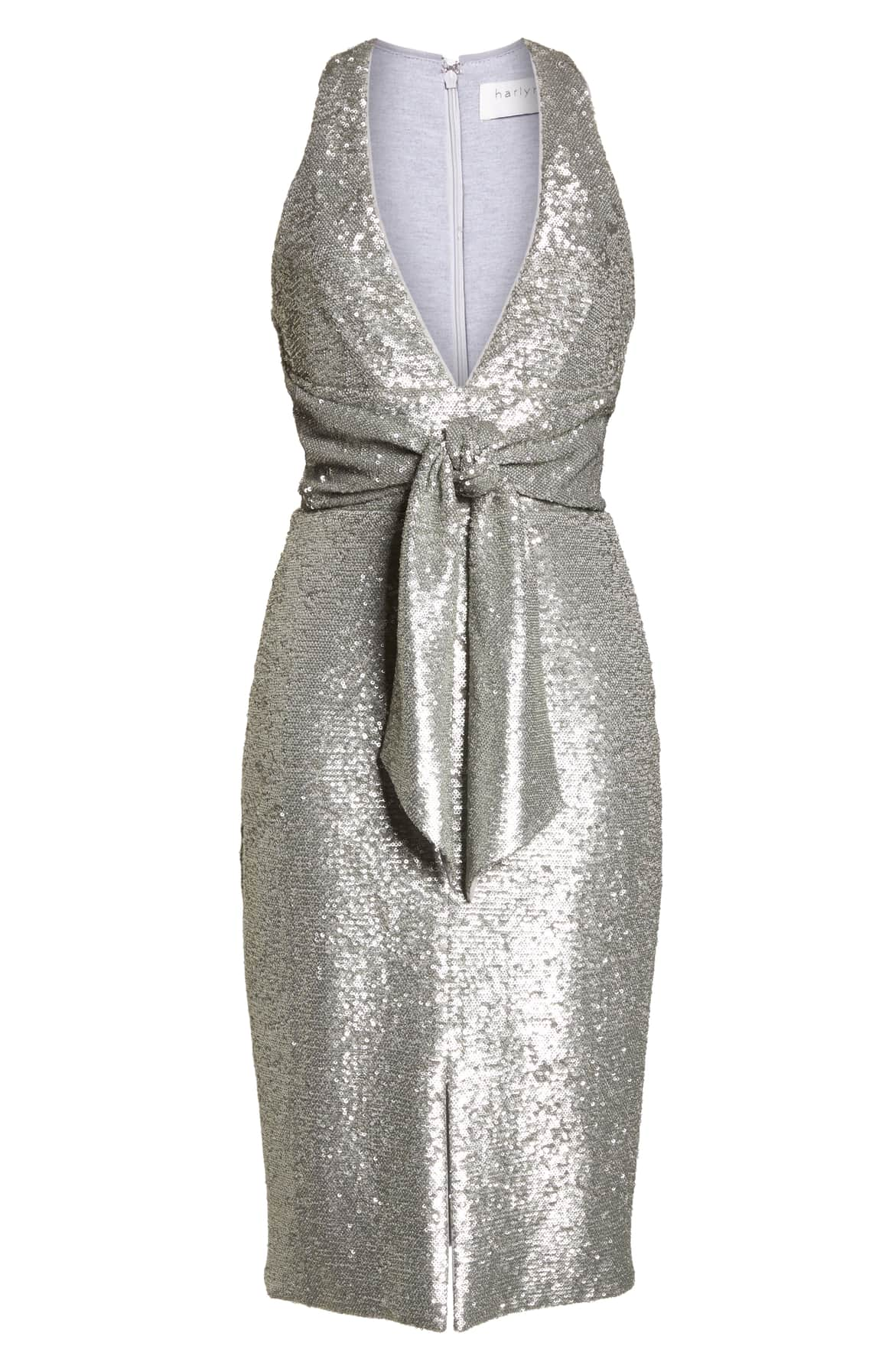 <p>Allover sequins sparkle and shine on a sheath embellished with a tonal tie at the waist and a sultry plunge neck. Sexy AF.{&amp;nbsp;} $178. (Image: Nordstrom){&amp;nbsp;}</p><p></p>