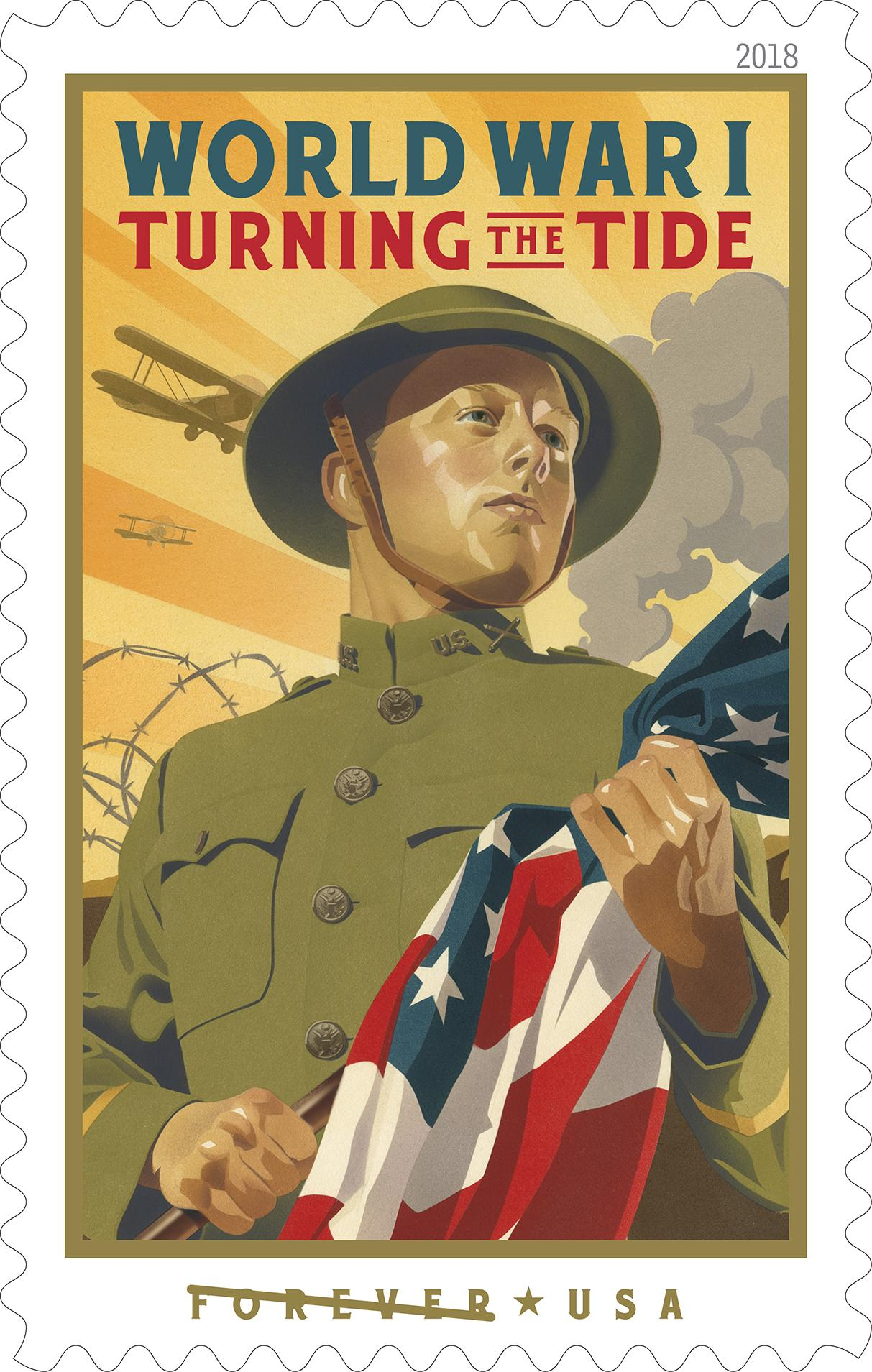 World War I: Turning the Tide - With this stamp, the Postal Service pays tribute to the sacrifice of American soldiers and millions of supporters on the home front who experienced World War I. Entering World War I (1914–1918) in its later stages, the United States helped turn the tide of war in favor of the Allies. (USPS)