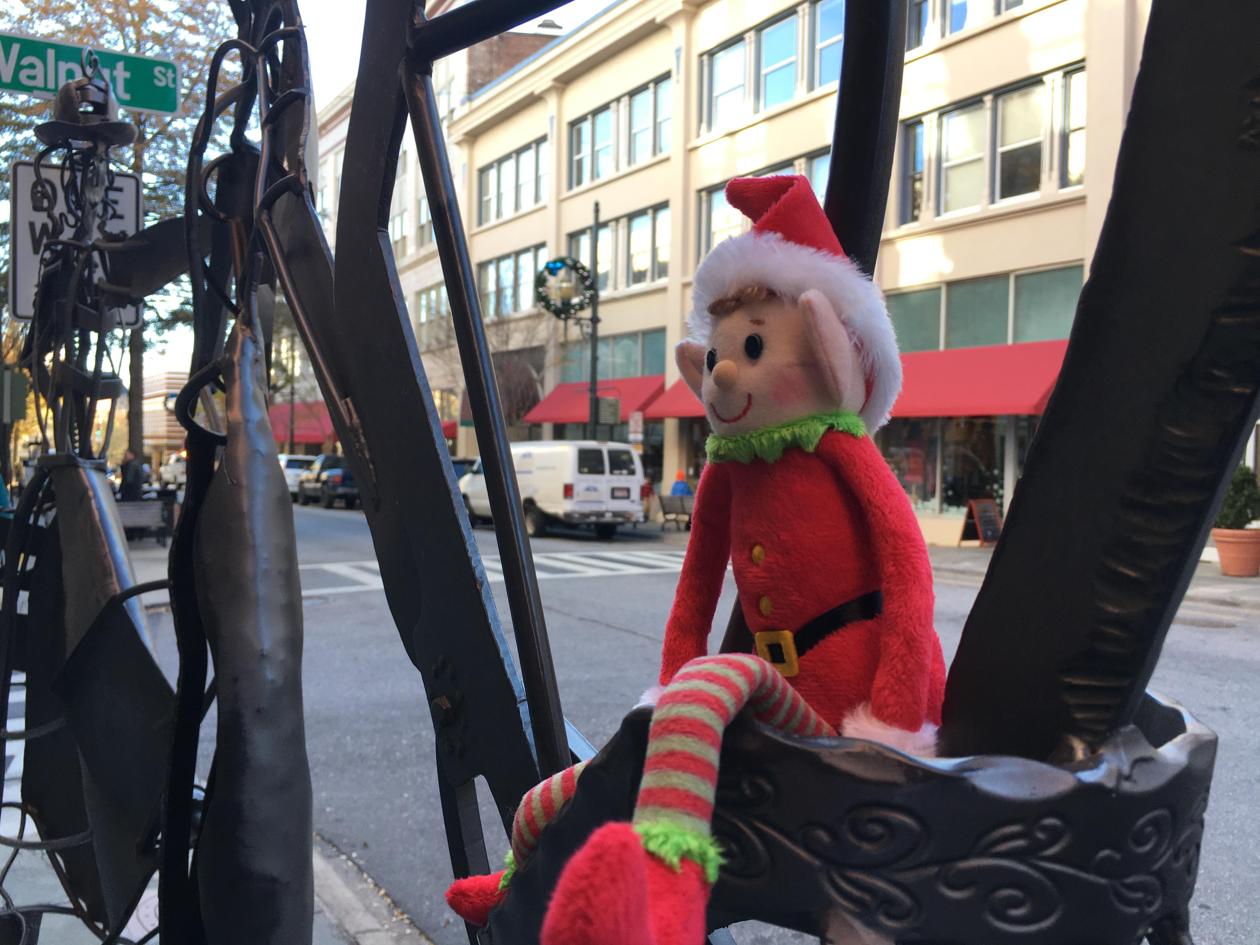 Scoop, News 13's elf, tags along with crews all over western North Carolina, testing viewer's local knowledge. (Photo credit: WLOS Staff)