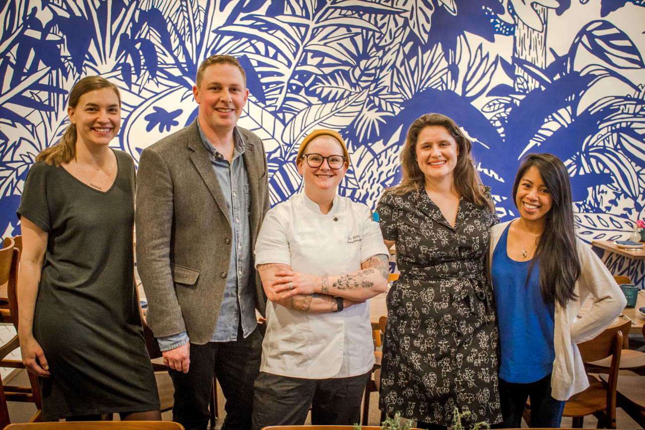 Lindsey Cook (Director of Culinary Training), Anthony Berin (General Manager), Jen Kempin (Executive Chef), Sam Dewald (Employment Specialist), and Cat Amaro (Hospitality Manager) at the grand opening of Social / Image: Erin Glass // Published: 3.27.19