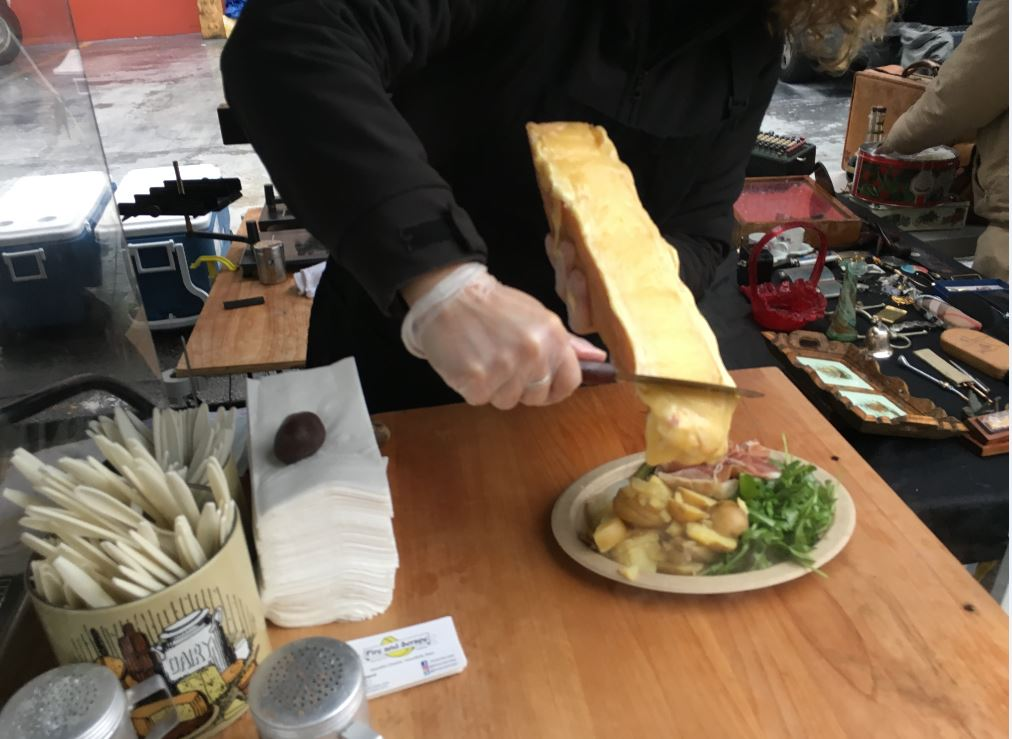 "Seattle's ""Fire and Scrape"" sells melted Raclette cheese at the Fremont Sunday Market. (Seattle Refined)"