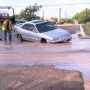 Water main break in downtown Amarillo traps vehicle