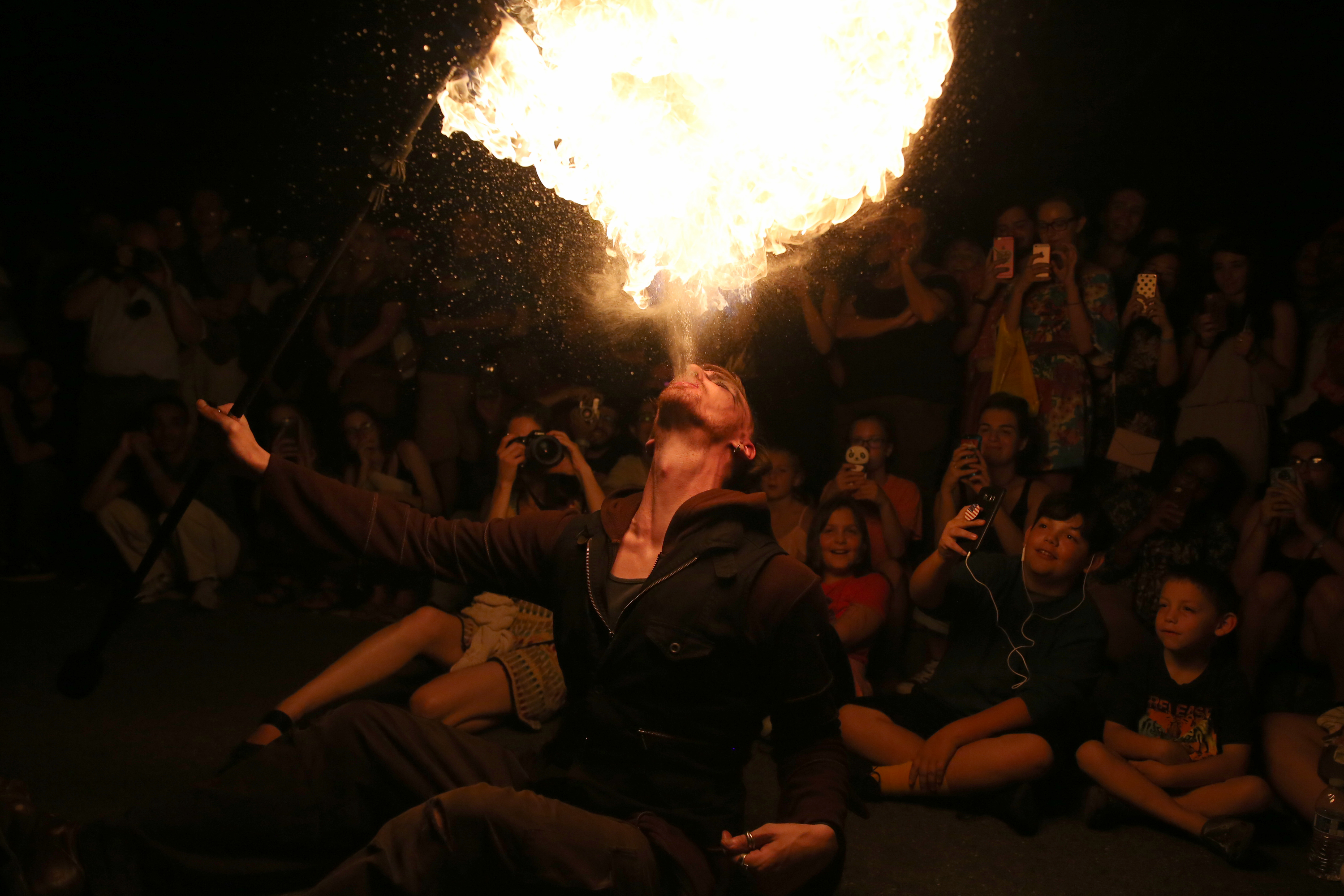 September, 2017. A performer breathes fire at an Art All Night event in Dupont Circle.{&amp;nbsp;} (Amanda Andrade-Rhoades/DC Refined)<p></p>