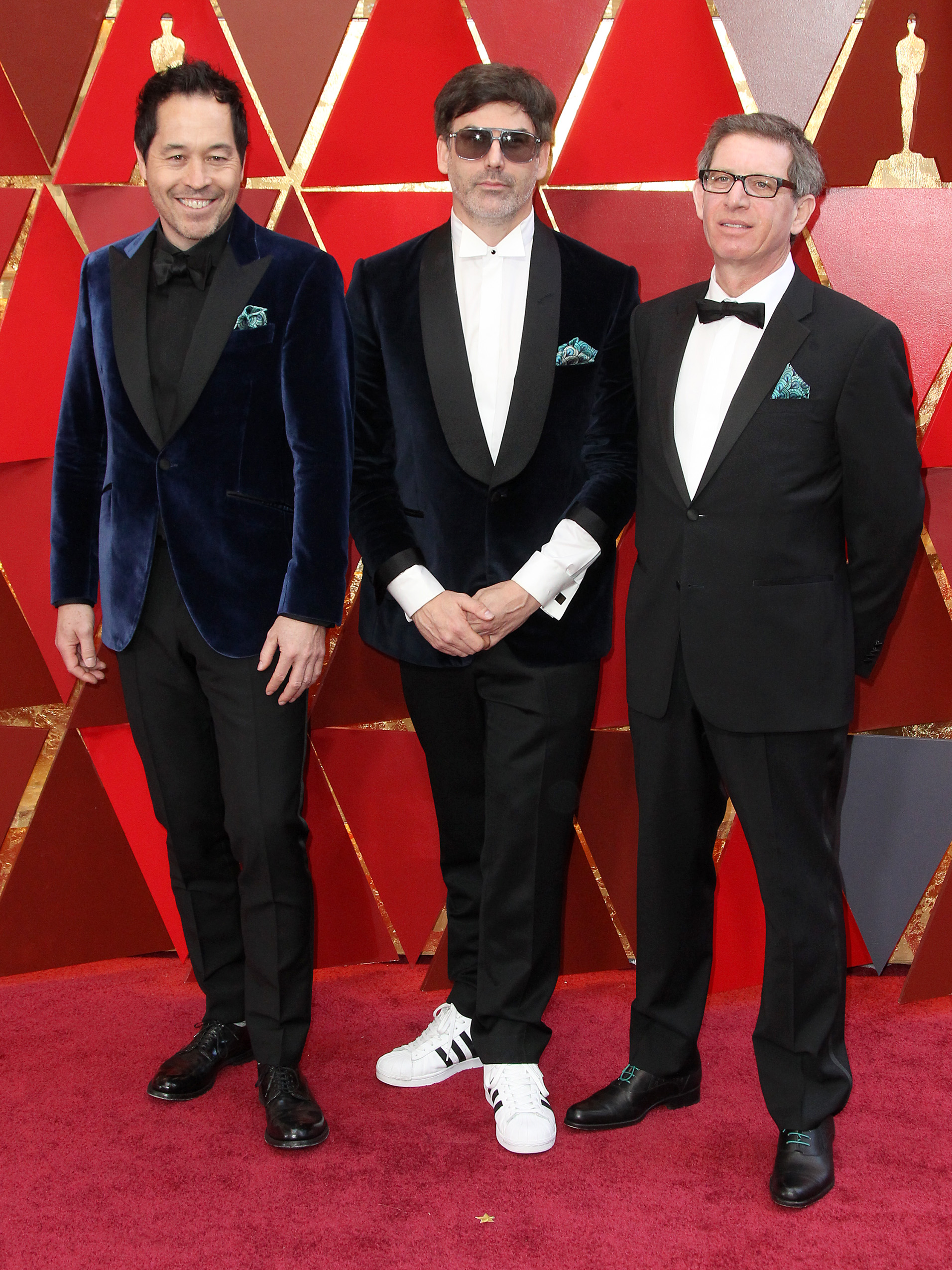 Paul Denham Austerberry, Shane Vieau and Jeffery A. Melvin{&nbsp;}arrive at the 90th Annual Academy Awards (Oscars) held at the Dolby Theater in Hollywood, California. (Image: Adriana M. Barraza/WENN.com)<p></p>