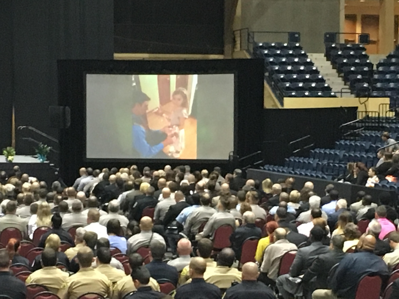 "A memorial service was held Monday at the Macon Centreplex for fallen Bibb County Sheriff's Deputy Investigator Anthony ""TJ"" Freeman, who was killed in the line of duty on Thursday / Matt Thielke (WGXA)"