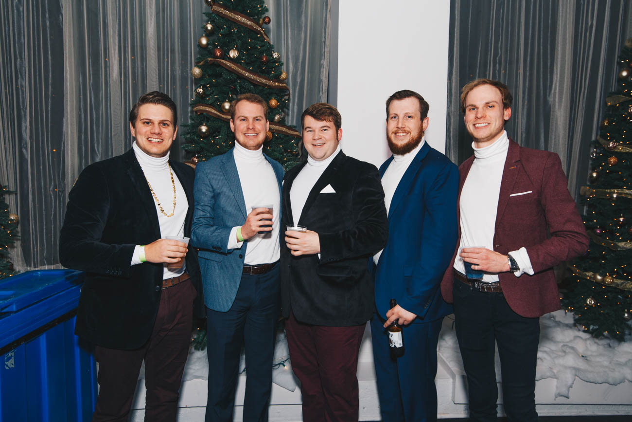 "<p>Nick Berra, Justin Bezold, Matt Kriege, Seth Conelly, and Tyler Bezold matched in white turtlenecks and blazers at Hotel Covington's ""All That Glitters"" party on December 31. / Image: Catherine Viox // Published: 1.3.19</p>"