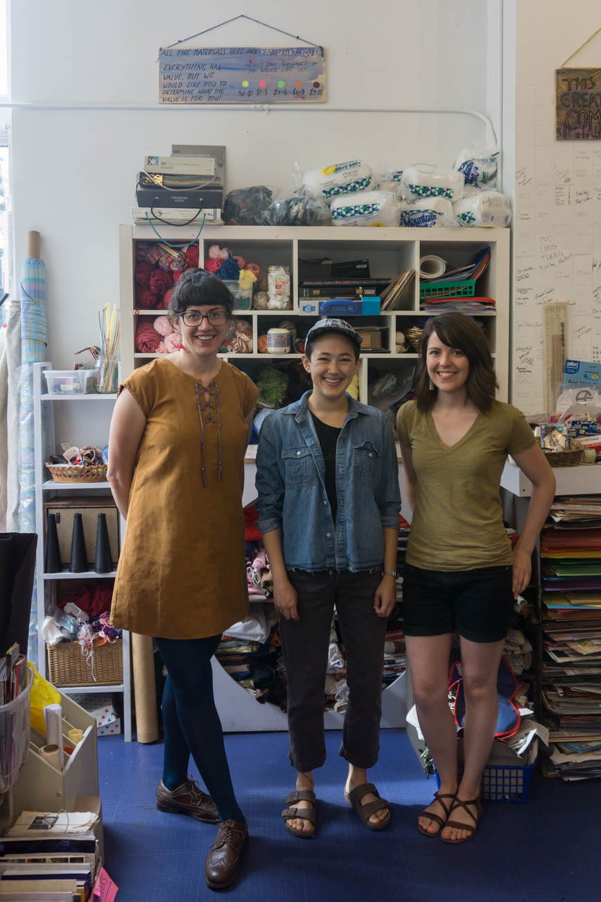 Amy Tuttle (Director of Programming), Megan Harmeyer (Store Hippo & Team Member), and Emily Farison (Storefront Director) / Image: Sarah Vester // Published: 9.1.17