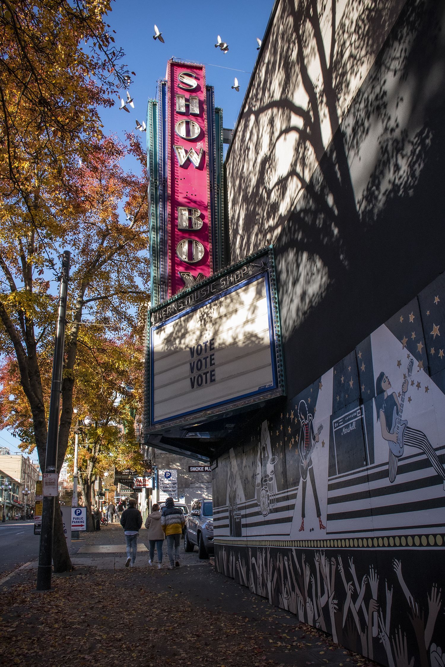 "Founded in 1939, Showbox Theater has operated under half-a-dozen names, but all with one thing in common: good live music. Popular bands have graced the venue for decades, from ballroom acts like Duke Ellington, Muddy Waters and Nat King Cole, to Seattle's grunge groups like Pearl Jam and Soundgarden. In 2019, nearing a demolition status, the spot earned its City of Seattle Landmark title after an outpouring of ""Save the Showbox"" petitions. (Image: Rachael Jones / Seattle Refined)"