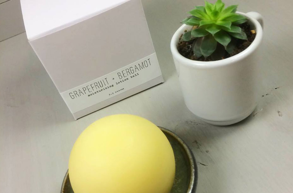 homemade. la conner's products are all handcrafted and created in La Conner, WA. Their delightful smelling Lotion Ball, 32oz. of lotion packed into a 3.3oz. sphere. (Photo Credit: handmade. la conner)