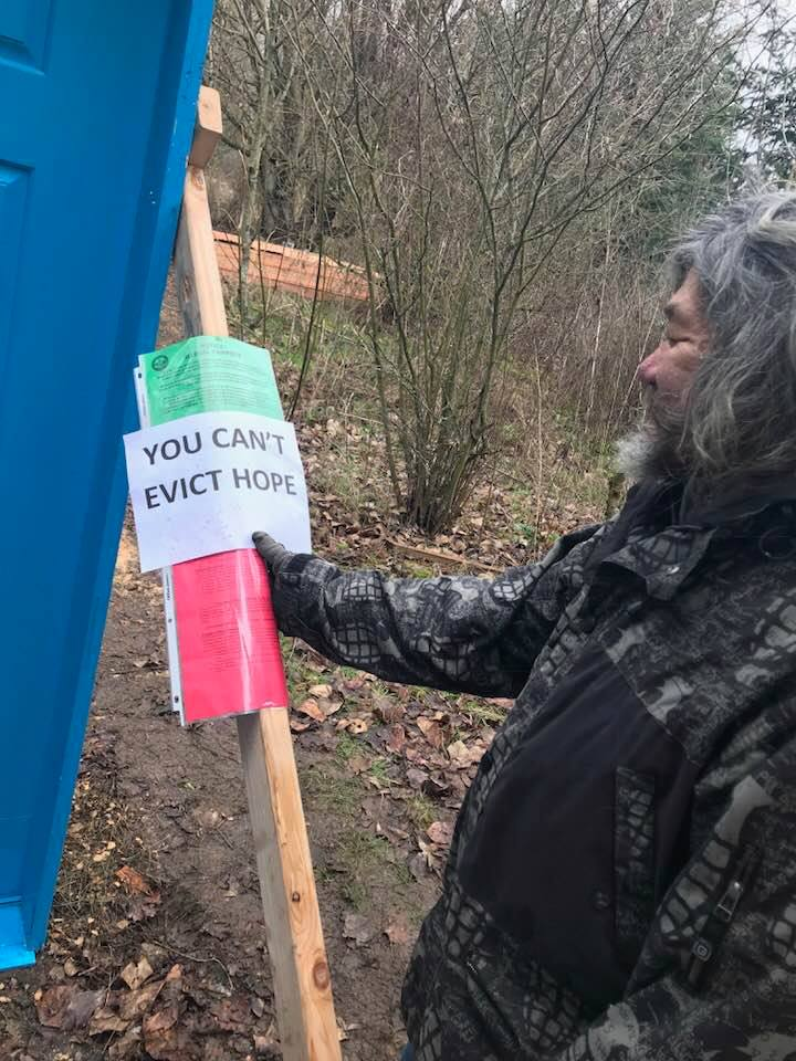 The Village of Hope was evicted from city property off of Airport Way on Friday, Feb. 2, 2018. KATU photo