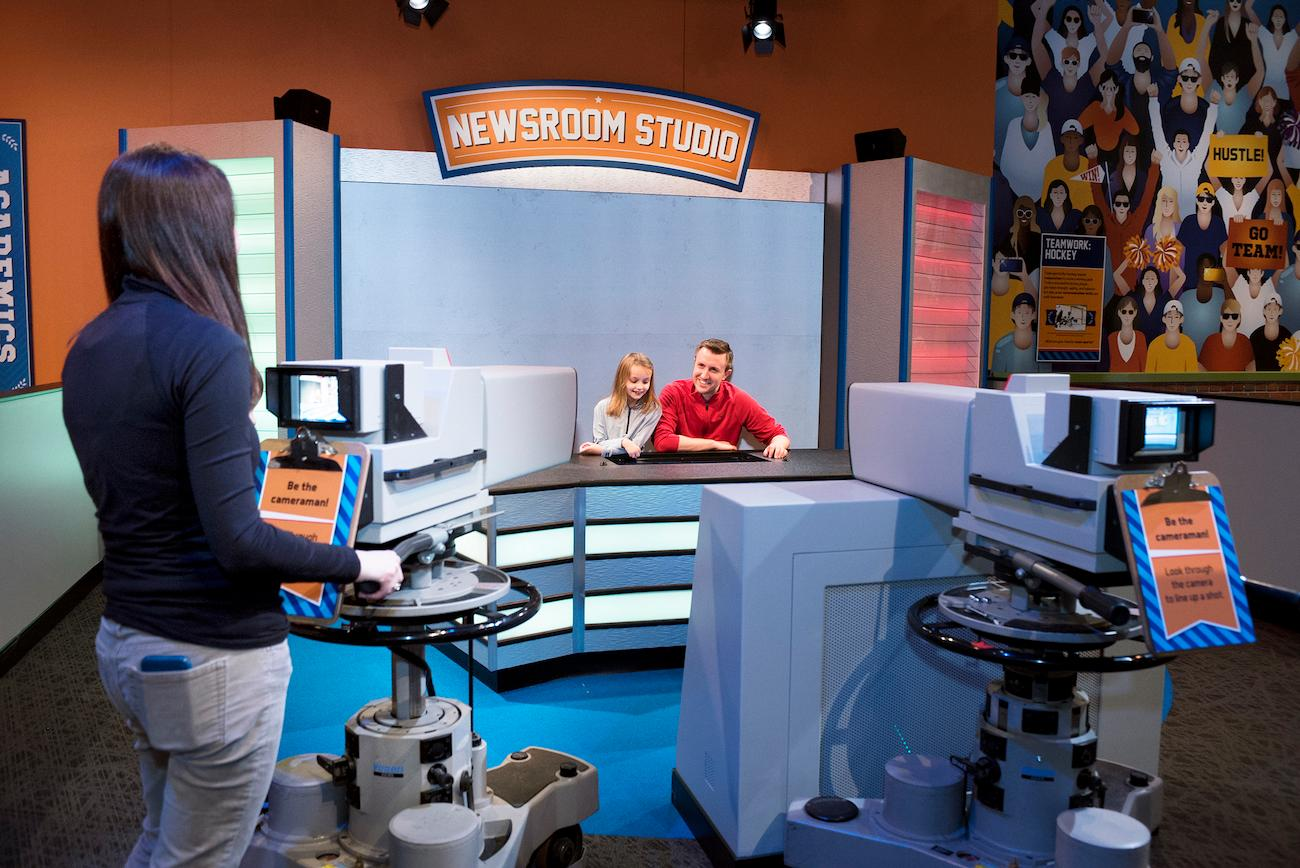 Try your hand as a TV sports announcer or camera person in the World of Sport, one of three indoor sports exhibits within the museum's Riley Children's Health Sports Legends Experience. / Image courtesy of Children's Museum of Indianapolis // Published: 4.2.19