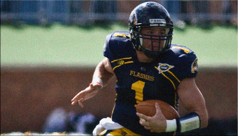 Edelman played quarterback at Kent State, where he set the school single-season record for total offense in 2008. He was selected by the Patriots in the seventh round  (232nd overall) of the 2009 NFL Draft and converted to wide receiver. (Photo courtesy Kent State Athletics)