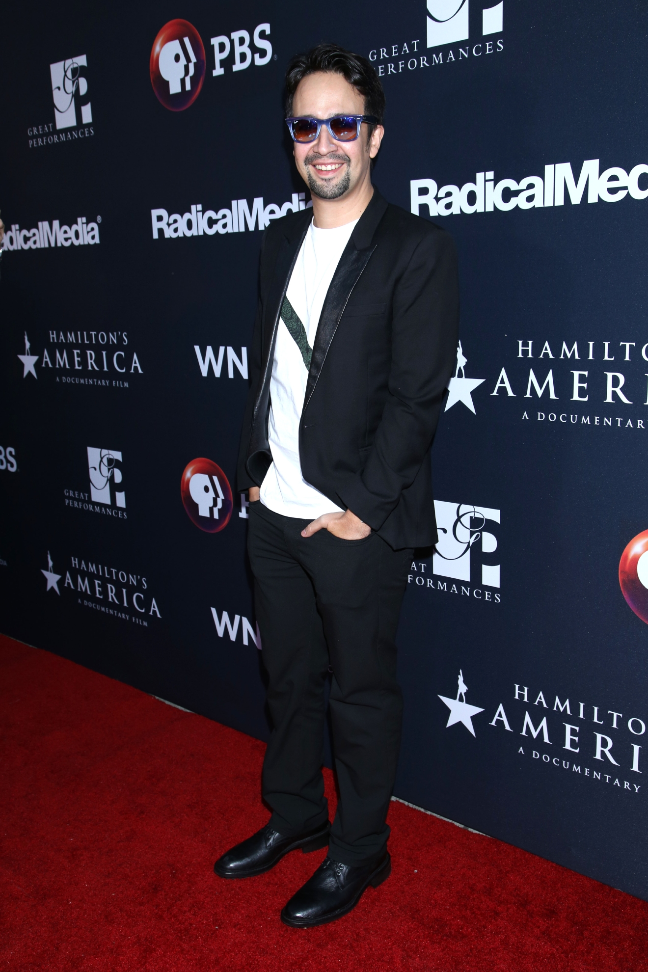 Lin-Manuel Miranda attends the premiere for PBS' Great Performances: Hamilton's America held at the United Palace Theatre. (Joseph Marzullo/WENN.com)