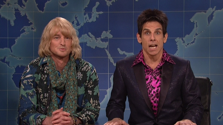 "Ben Stiller and Owen Wilson Appear on ""Saturday Night Live's"" ""Weekend Update"" segment as characters in ""Zoolander 2"" on Feb. 7, 2016. (Supplied by WENN)"
