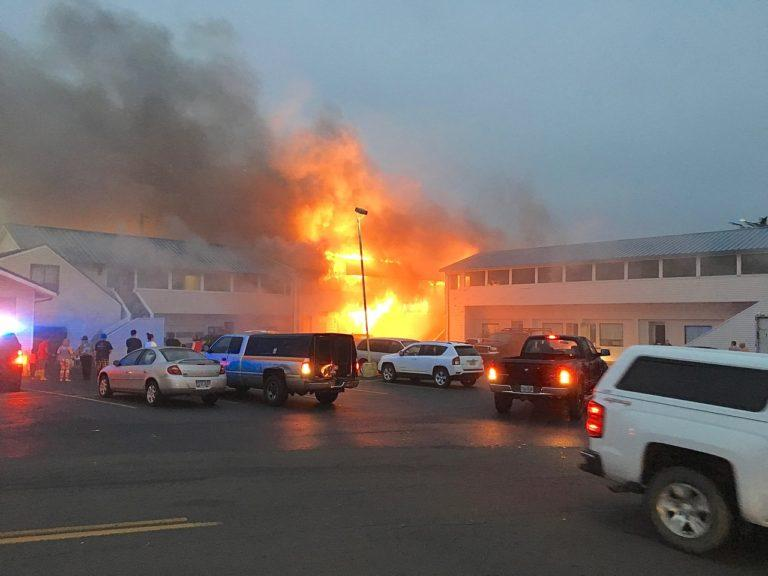 Fire at Newport's City Center Motel - Photo by Dustin Capri (courtesy Dave Morgan with NewsLincolnCounty.com)