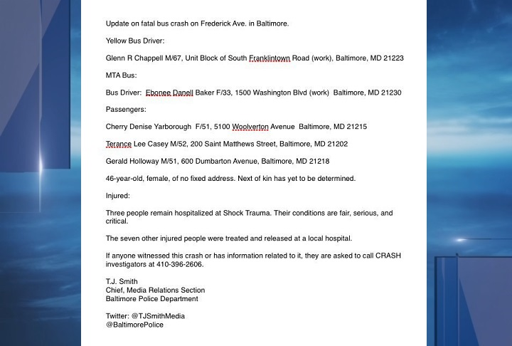 Police have identified five of the six victims killed in a bus crash early Tuesday morning. (Image courtesy @BaltimorePolice) NOTE: Addresses, released by police, are block numbers, not exact street addresses.