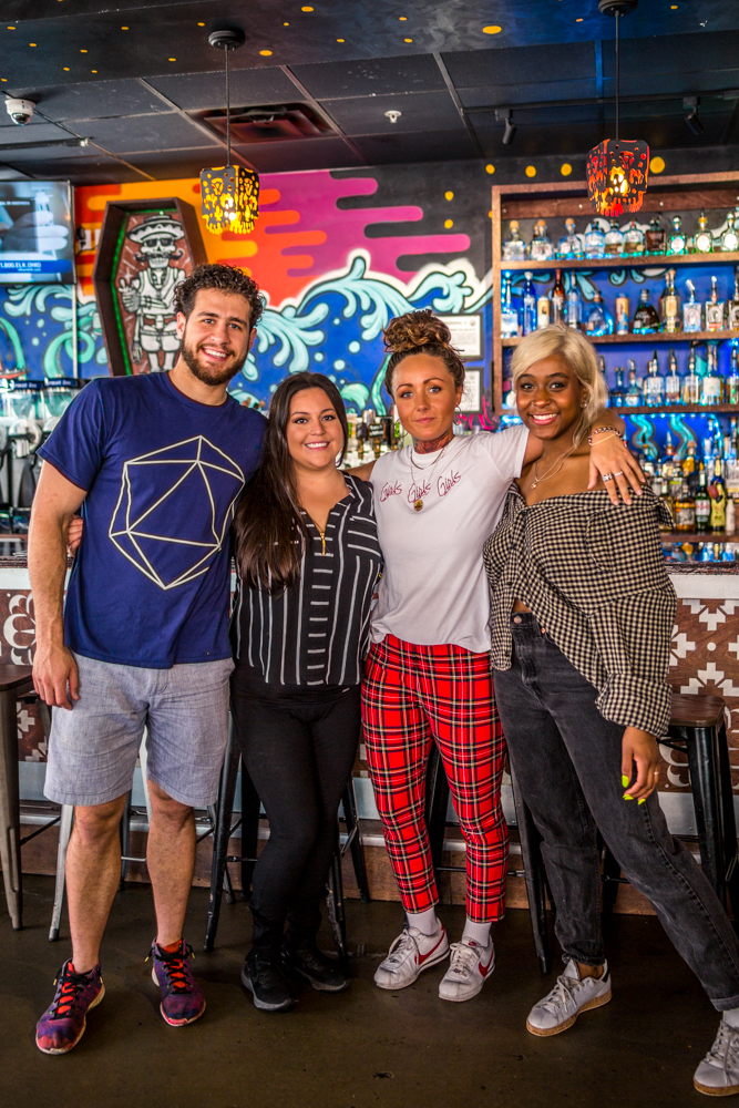 Brendan Golboy (server/bartender), Ashley Diaz (general manager), Lauren Avery (shift lead/bartender), Ryane Johnson (server/trainer) / Image: Catherine Viox{ }// Published: 6.9.19