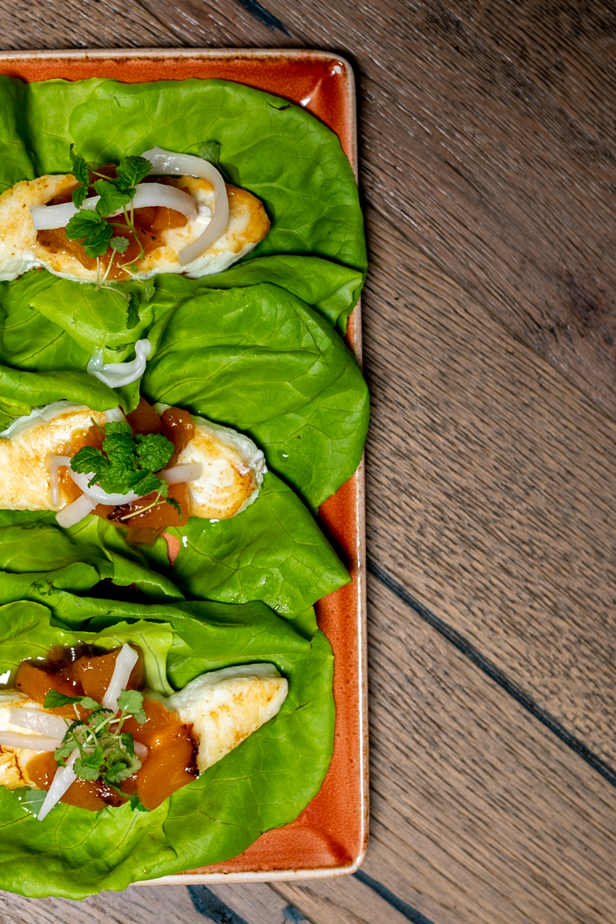 Halibut bibb cups: salt-brined halibut, bibb lettuce, serrano peach jam, and fresh coconut / Image: Amy Elisabeth Spasoff // Published: 9.23.18
