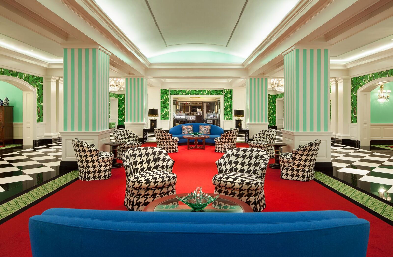 The hotel's main lobby is decorated in a bright palette of colors and furniture.{ }(Image: Courtesy The Greenbrier)