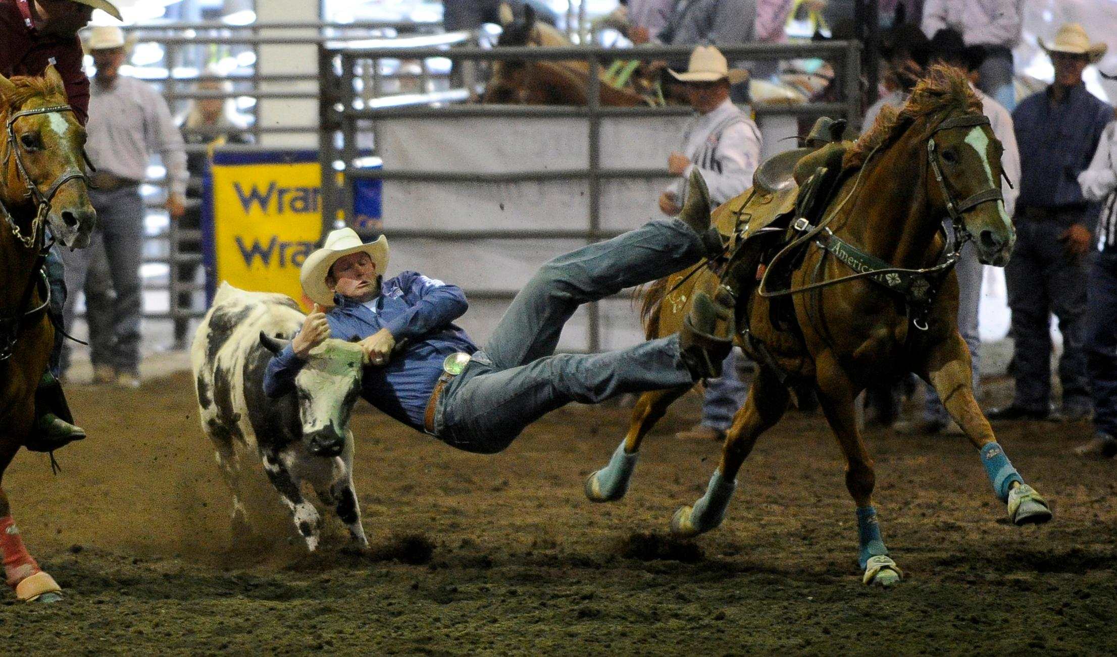 Andy Atkinson / Mail TribuneBlake Knowles from Heppner leads after the first night of steer wrestling at the Jackson County Expo Thursday evening during the Wild Pro Rodeo.