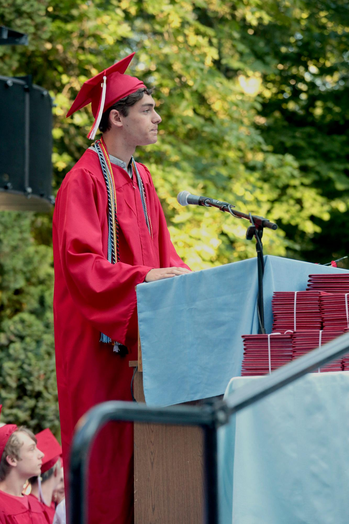 Student Speaker Dylan Kistler during the Ashland High Class of 2018 Commencement Ceremony at Lithia Park.   [ / PHOTO BY:  LARRY STAUTH JR]