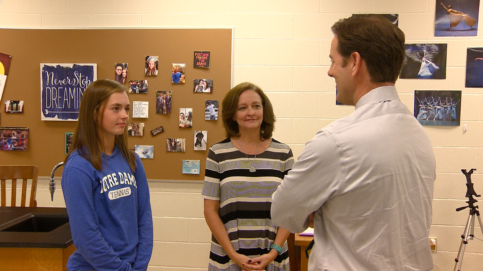 Olles and her chemistry teacher from last year, Andrea Heardon, speak with FOX 11's Mike Murad (WLUK)<p></p>